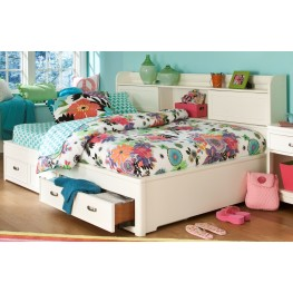 Park City White Full Bookcase Storage Lounge Bed