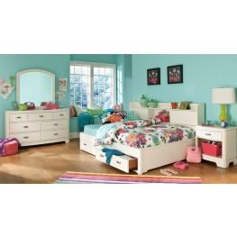 Park City White Bookcase Storage Lounge Bedroom Set