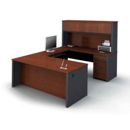 Prestige Plus U-Shaped Workstation Kit In Bordeaux & Graphite