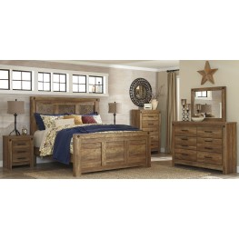 Ladimier Golden Brown Mansion Bedroom Set