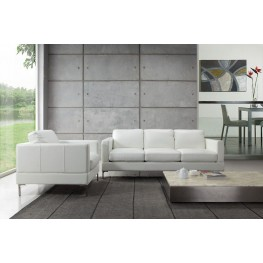 Tobia Snow White Leather Living Room Set