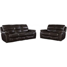 Gregory Brown Leather Power Reclining Living Room Set