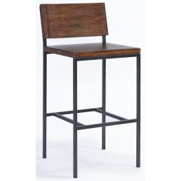 Sawyer Java Pine Wood and Metal Bar Stool