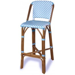 Rum Point Spa Blue Rattan Bar Stool