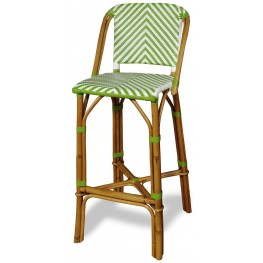 Rum Point Green Rattan Bar Stool