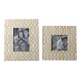 Baina Yellow And White Metal Photo Frame Set of 2