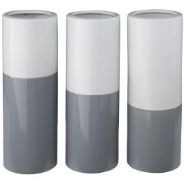 Dalal Gray and White Vase Set of 3