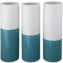 Dalal Teal and White Vase Set of 3