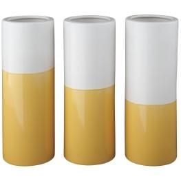 Dalal Yellow and White Vase Set of 3