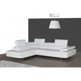 A761 White Italian Leather LAF Sectional