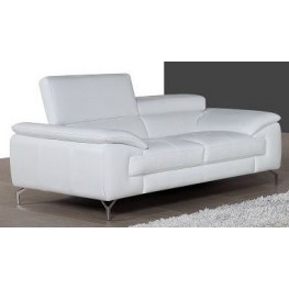 A973 White Italian Leather Loveseat