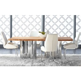 Xena Absolute Natural Rectangular Dining Room Set with Regis Caro Dining Chairs