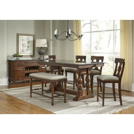 "Andover 72"" Antique Cherry Rectangular Adjustable Dining Room Set"