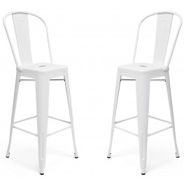 Classic Cafe Garvin White Barstool Set of 2