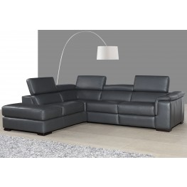 Agata Slate Gray Leather Power Reclining LAF Sectional
