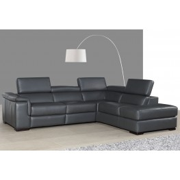 Agata Slate Gray Leather Power Reclining RAF Sectional