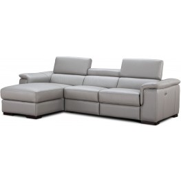 Alba Light Gray Premium Leather Power Reclining LAF Sectional