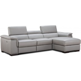 Alba Light Gray Premium Leather Power Reclining RAF Sectional
