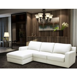 Alexis White Leather LAF Sectional