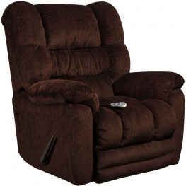 Massaging Temptation Mahogany Microfiber Rocker Recliner