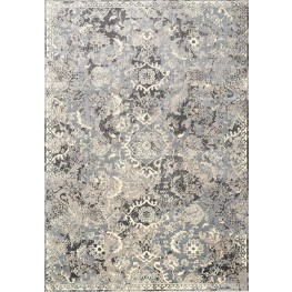Antika Grey and Cream Thin Border Classic Floor Cloth Large Rug