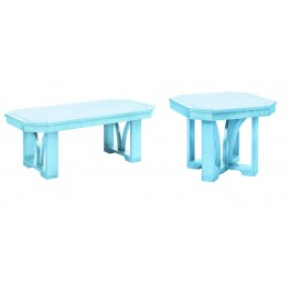 "St Tropez Aqua 42"" Occasional Table Set"