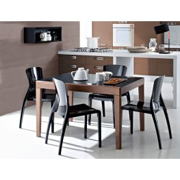 Asso Black Dining Room Set with 4 Crystal Chairs