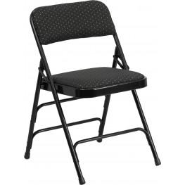 HERCULES Series Curved Triple Braced Black Patterned Metal Folding Chair