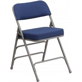 HERCULES Series Premium Navy Fabric Upholstered Metal Folding Chair