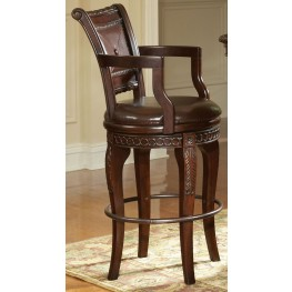 Antoinette Warm Brown Cherry Swivel Bar Chair Set of 2