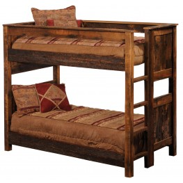 Barnwood Queen Over Queen Ladder Left Bunkbed