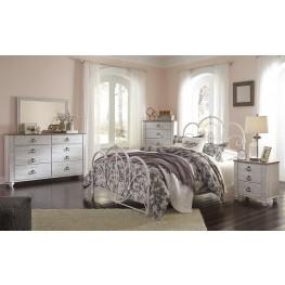 Loriday Aged White Metal Bedroom Set