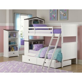 Lark Bright White Twin over Twin Bunk Bed
