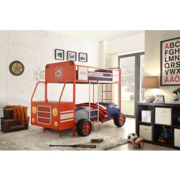 Engine One Red Fire Truck Twin over Twin Bunk Bed