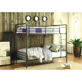 Chaney Gray Metal Twin Over Twin Bunk Bed
