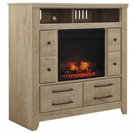 Annilynn Media Chest with  Glass/Stone Fireplace Insert