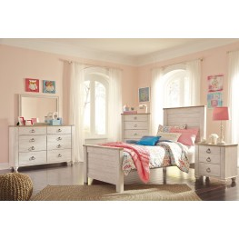 Willowton Whitewash Youth Panel Bedroom Set