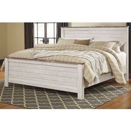Willowton Whitewash King Panel Bed