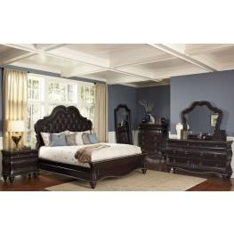 Palisades Black Cherry Upholstered Panel Bedroom Set