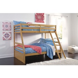 Hallytown Light Brown Twin Over Full Bunk Bed