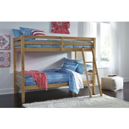 Hallytown Light Brown Twin Over Twin Bunk Bed with Ladder