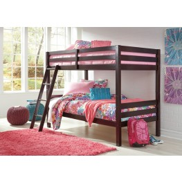 Halanton Dark Brown Twin Over Twin Bunk Bed with Ladder