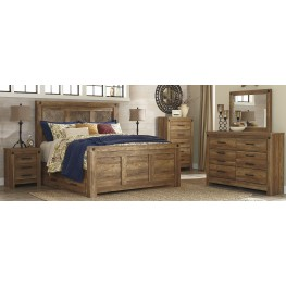 Ladimier Golden Brown Mansion Storage Bedroom Set