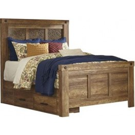 Ladimier Golden Brown Queen Mansion Storage Bed