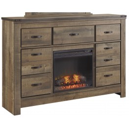 Trinell Brown Dresser with Fireplace