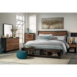 Stavani Black and Brown Panel Storage Bedroom Set