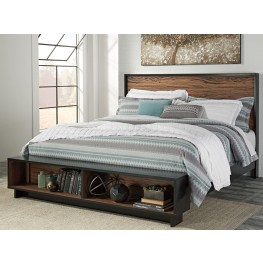 Stavani Black and Brown Queen Panel Storage Bed