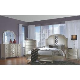 Regency Park Pearlized Silver Panel Bedroom Set