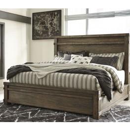 Leystone Dark Brown King Panel Bed
