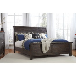 Trudell Dark Brown King Panel Bed